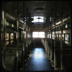 Inside trolley at the Railroad Museum in Perris, California