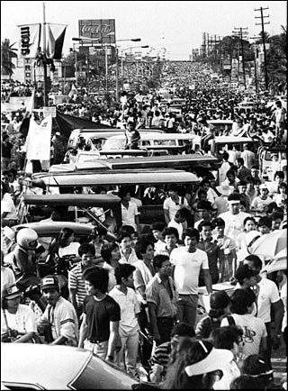 This depicts EDSA in Manila but you get the drift.  Clicking on the link will take you to the timeline of events in 1986.