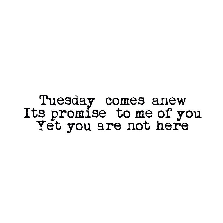 Tuesday comes anew/it's promise to me of you/Yet you are not here