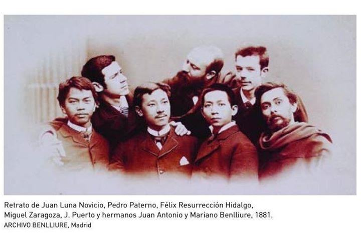 Retrato de Juan Luna Novicio, Pedro Paterno, Felix Resurreccion Hidalgo, Miguel Zaragoza, J. Pueblo y hermanos Juan Antonio y Mariano Benlliure, 1881 Image Source: Archivo Benlliure, Madrid, Spain