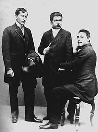 Three prominent Ilustrados in Spain: José Rizal, Marcelo H. del Pilar and Mariano Ponce (from left to right). Photo was taken in Spain in 1890.