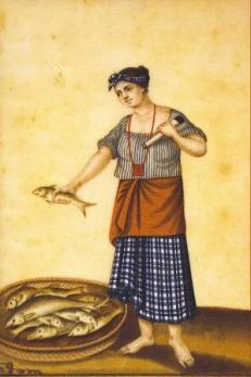 """Damian Domingo. """"Un India Pescadora de Manila"""" (A Fish Vendor of Manila). Between 1827-1832. Colored gouache on rice paper. Approximately 20.5 cm. x 30.5 cm. Dr. Eleuterio Pascual Collection."""