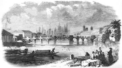 Bridge of Binondoc in Manila, early 19th century. Original caption: Pont de Binondoc à Manille. From Aventures d'un Gentilhomme Breton aux iles Philippines by Paul de la Gironière, published in 1855.
