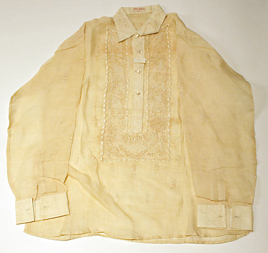 Man's shirt made of piña cloth. Late 19th - 20th century with inscription: G. G. Arrés/1455 G. del Pilar, Manila