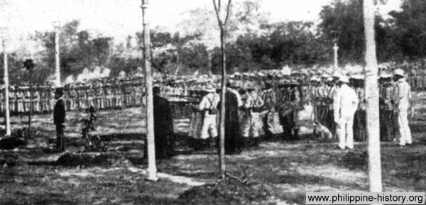 Photo believed to be the execution of Jose Rizal in Bagumbayan field (now Luneta Park) on December 30, 1896