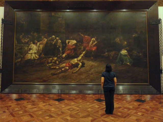 SPOLIARIUM. Antonio Dumlao, a Filipino artist that specializes in art restoration, was commissioned to give this obra maestra a facelift after it was sliced into 3 parts because the Spanish government had to ship it as a gift to the Philippines.