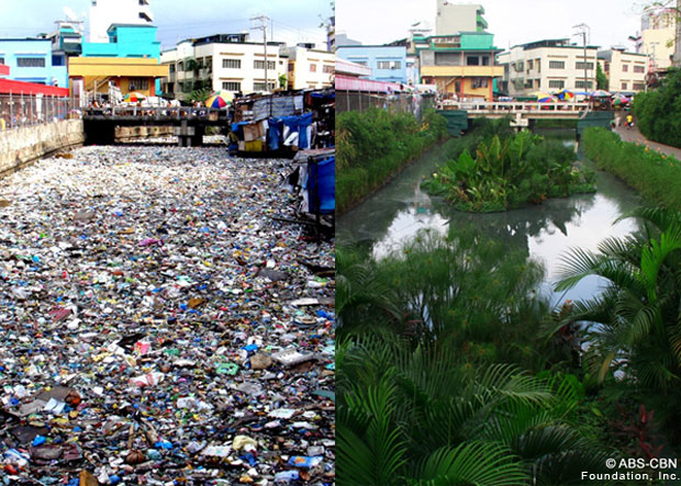 "(left photo) Prior to its rehabilitation, the Estero de Paco was overflowing with tons of garbage. The second photo (right) – taken on January 17, 2013 after the rehabilitation of the creek – shows the same spot as the first, highlighting the vast improvements done to rehabilitate the waterway using PAGCOR's P20 million donation for the ""Kapit Bisig para sa Ilog Pasig"" project spearheaded by ABS-CBN Foundation. (Photos courtesy of ABS-CBN Foundation's KBPIP)"