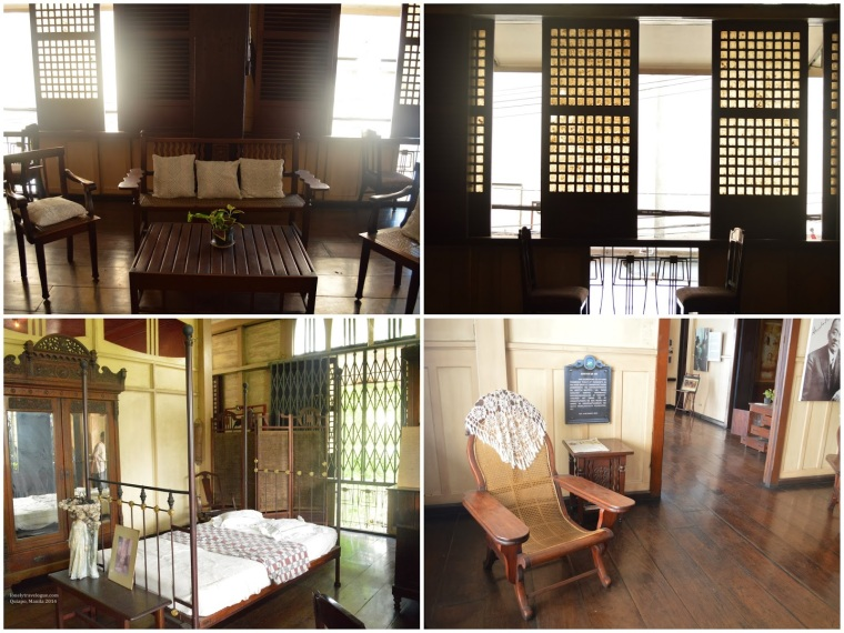 Clockwise: Sala, A typical kapis window of a Bahay na Bato, Tumba-Tumba where Oryang would seat and contemplate about life, Bed of Oryang.