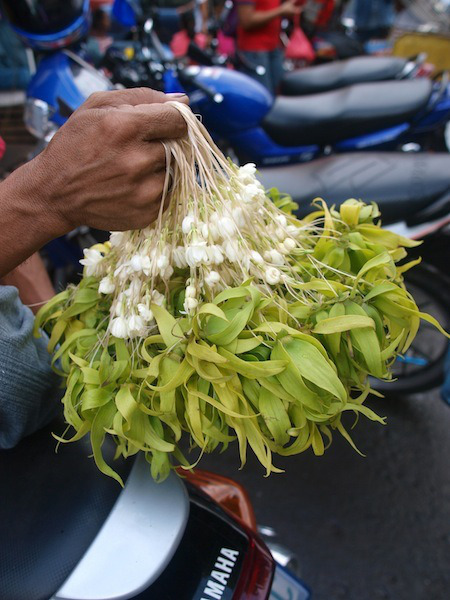 White Sampaguita and ylang ylang strung in a necklace