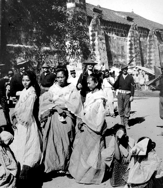 Embroiderers in Old Manila with American troops in 1899