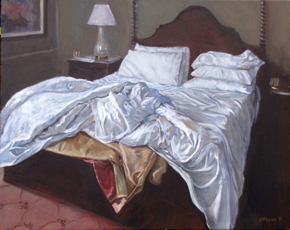 """Unmade Bed"" painting by Judy McLaren"