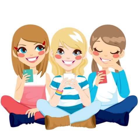 © Kakigori | Dreamstime.com - Girls Sitting Using Smartphone Photo